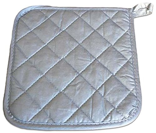 """Custom & Durable {8"""" x 8"""" Inch} 50 Bulk Pack, Mid Size """"Non-Slip"""" Pot Holders Glove Made of Cotton for Carrying Hot Dishes w/ Shiny Quilted Flame Retardant Commercial Style [Silver] by mySimple Products"""