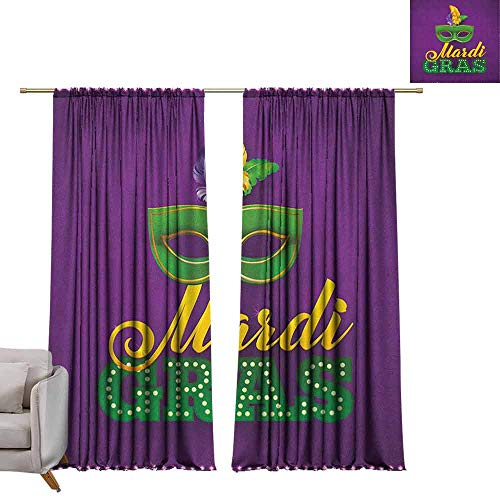 berrly Blackout Window Curtain Panel Mardi Gras,Green Mask with Colorful Feathers on Purple Backdrop Styled Calligraphy, Purple Green Yellow W108 x L84 Tie Up Shades Rod Blackout Curtains