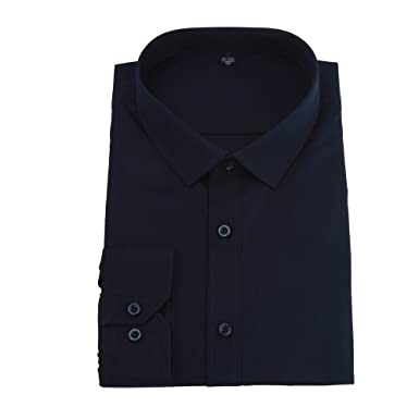 Camisa de Manga Larga para Hombre, Color Liso, Cuello Giratorio ...