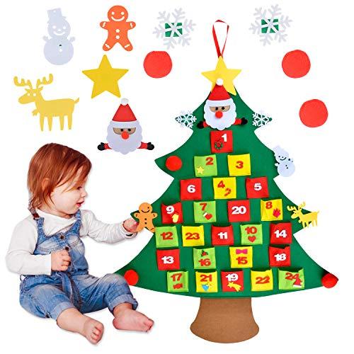 Coxeer Felt Christmas Advent Calendar, Xmas Felt Advent Calendar with Pocket 24 Days Countdown Calendar DIY Xmas Wall Hanging Tree Calendars with 10 PCS Ornaments Gift for Kids Christmas Decorations