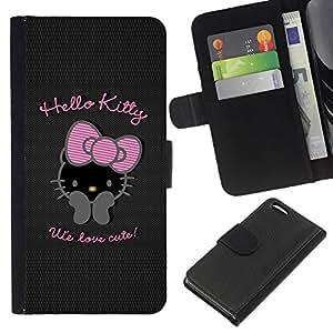 KLONGSHOP // Tirón de la caja Cartera de cuero con ranuras para tarjetas - Bowtie Rosa Carácter Negro - Apple Iphone 5C //