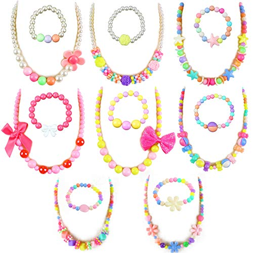 3 otters Necklace for Girls, 8PCS Little Girls Jewelry Beaded Necklace Bracelet Sets Party Jewelry for Kids Valentine's Day Easter filling