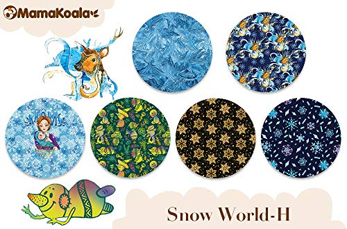 Mama Koala One Size Baby Washable Reusable Pocket Cloth Diapers, 6 Pack with 6 One Size Microfiber Inserts and 2 Headbands (Snow World)