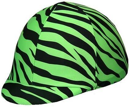 LIME GREEN ZEBRA Lycra Spandex Horse Riding Helmet Cover in Fun Prints