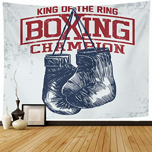 """Price comparison product image Ahawoso Tapestry Wall Hanging 80""""x60"""" Training Gym Vintage Boxing Gloves Kid Boy Sport Athlete Home Decor Tapestries Decorative Bedroom Living Room Dorm"""