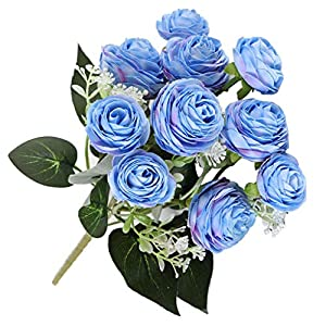 Fityle 10 Heads Artificial Flower Rose Fake Silk Bouquet for Wedding Table Plants 9