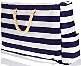 Beach Bag with 100% Waterproof Phone Case, Top Zipper, Cotton Rope Handles, Extra Outside Pocket. Blue Stripes Beach Tote has Built-In Keyholder, Bottle Opener. L22