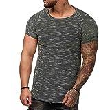 kaifongfu Men's Shirt,Short Sleeve Men Slim Fit O Neck Muscle Tee T-Shirt Casual Tops(Black,XL)