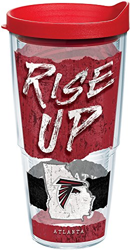 Tervis 1227768 NFL Atlanta Falcons NFL Statement Tumbler with Wrap and Red Lid 24oz, Clear (Water Falcons Atlanta)