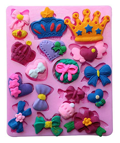 Sakolla Baby Shower Fondant Mold - Mini Bow Bowknot Crown Heart Silicone Mold for Sugarcraft, Cake Decorating, Chocolate, Candy, Polymer Clay, Cupcake Decorating