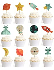 Outer Space Dog Cupcake Toppers Rocket Themed Party Aliens Cake Decorative 24pcs Spaceship by GOCROWN