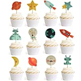 double sided contact paper - Outer Space Dog Cupcake Toppers Rocket Themed Party Aliens Cake Decorative 24pcs Spaceship by GOCROWN