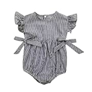 Baby Boys Girls Sunsuit Ruffled Rompers Striped Clothing Jumpsuit Rompers (Age:9-18M, navy)