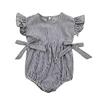 Baby Boys Girls Sunsuit Ruffled Rompers Striped Clothing Jumpsuit Rompers (Ag...