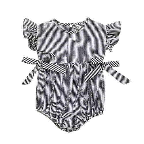 [Baby Boys Girls Sunsuit Ruffled Rompers Striped Clothing Jumpsuit Rompers (Age:18-24M, navy)] (Denim Romper Costume)