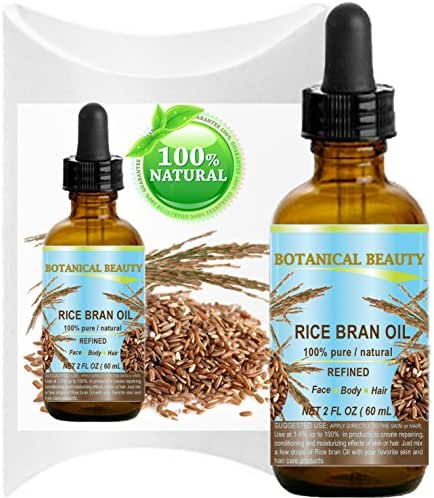 RICE BRAN  OIL.  100% Pure / Natural / Refined / Undiluted  Cold Pressed Carrier Oil for Face, Body,  Hair, Massage and Nail Care. 2 Fl. oz-60 ml
