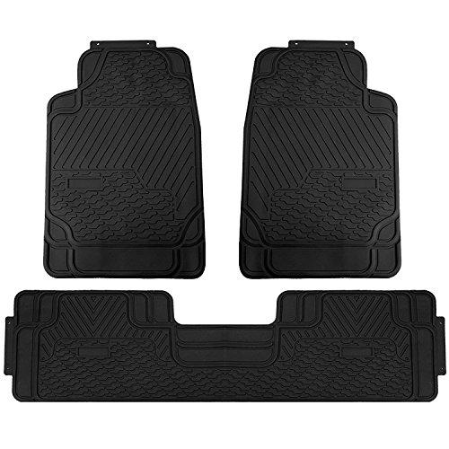 (Universal Car Mats 3PC Heavy Duty Car Floor Mats Front and Rear For Car SUV Truck & Van – Black)