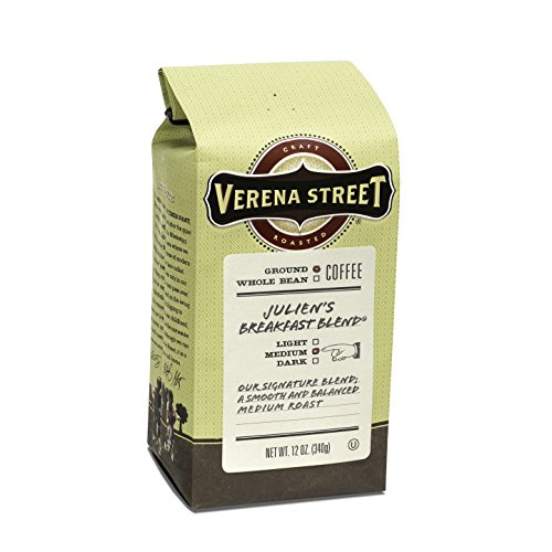 Verena Street 12 Ounce Ground Coffee, Medium Roast, Julien's Breakfast Blend, Rainforest Alliance Certified Arabica Coffee