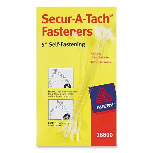 Wholesale CASE of 10 - Avery Secur-A-Tach Plastic Tag Fasteners-Plastic Tag Fasteners, Plastic, 5'' Long, 1000/BX, White by AVE