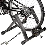 GHP Black Indoor Magnetic Resistance Bicycle Trainer Stand for 26''-28'' Wheel Sizes