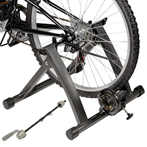 GHP Black Indoor Magnetic Resistance Bicycle Trainer Stand for 26''-28'' Wheel Sizes by Globe House Products (Image #5)