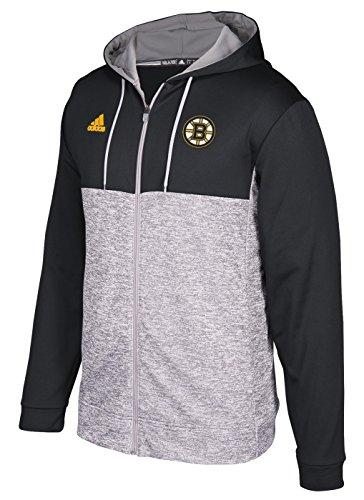 Adidas Fleece Hood Full Zip (NHL Boston Bruins Mens Authentic Full Zip Hoodauthentic Full Zip Hood, Graphite, Large)