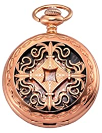AMPM24 Men's Vintage Baroque Rose Gold Case Full Hunter Mechanical Hand-wind Black Skeleton Dial Pendant Pocket Watch + Gift Box WPK189