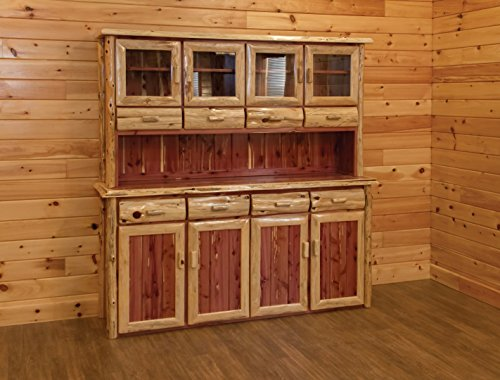 - Rustic Red Cedar Log 4 Door Hutch and Buffet - Amish Made in the USA
