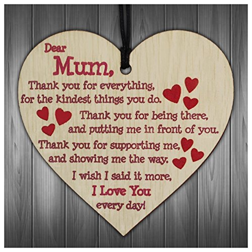 Gifts for Mum,I Love You Everyday Wooden Hanging Heart Mothers Gift Cute Mums Sign Best Mother Gift for Mummy Birthday Present from Daughter Plaque (RED) ()