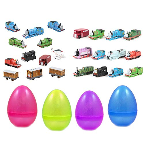 Park Ave 24 pcs Toy Filled Thomas the Train Playset Figures 1-2 Inches Inside Jumbo Plastic Easter Egg - Perfect for Egg Surprise Party Favor, Easter Egg Hunt, or Stocking Stuffer ()