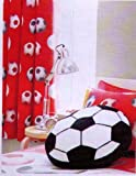 RED SOCCER DRAPES TO MATCH DUVET 66 X 72