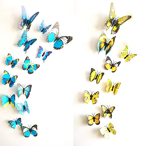 - Letitia Matthew Mixed 24PCS 3D Butterfly Wall Decor Stickers Colorful Art Decorations Kids Bedoom, Magnetic Refrigerator Sticker Blue & Yellow