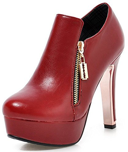 Summerwhisper Women's Sexy Plain Round Toe Booties with Zipper Chunky High Heel Platform OL Ankle Boots