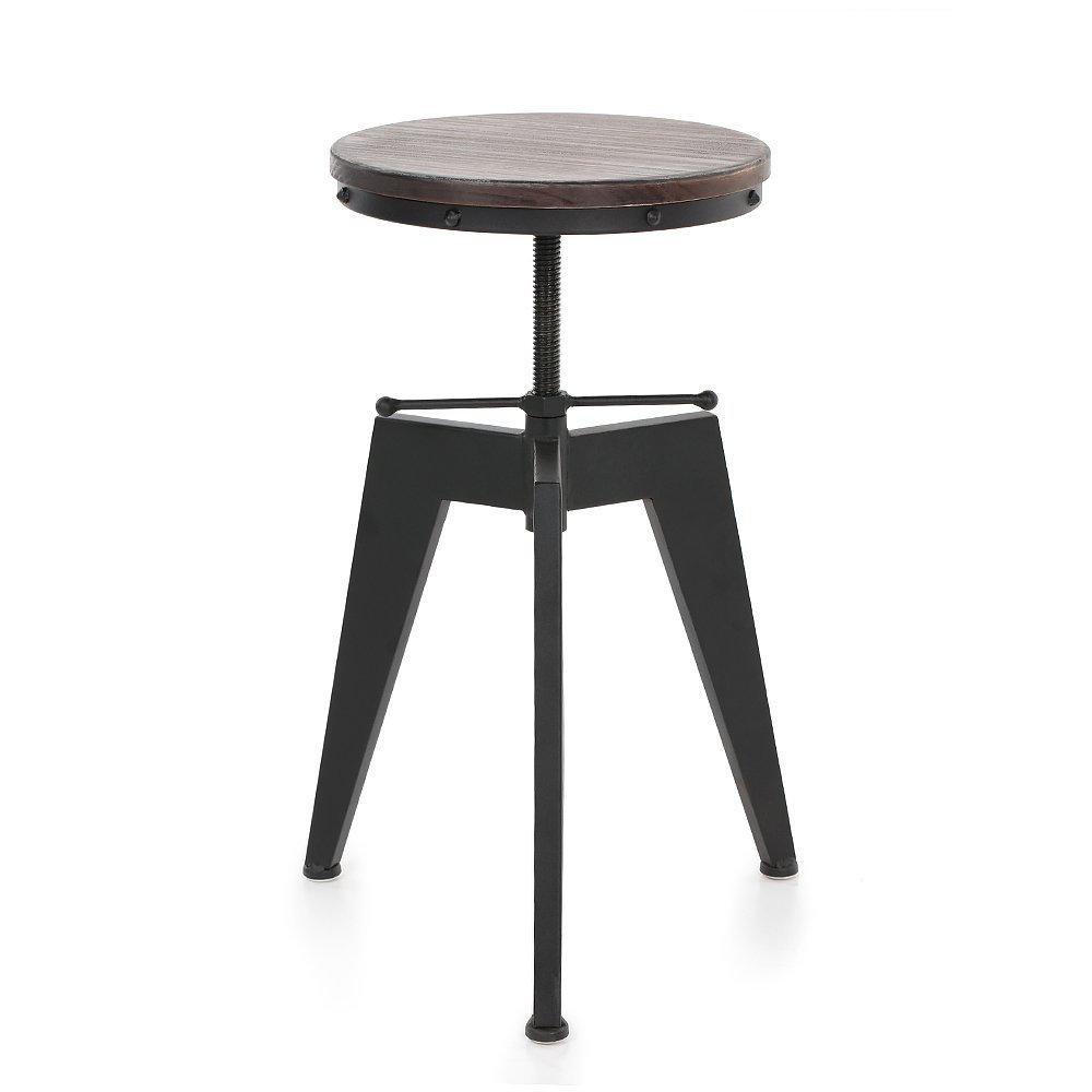 Articial Seat Swivel Kitchen Dining Chair,Industrial Bar Stool,Natural Pine Wood Top and Metal Base,Height Adjustable (Black)