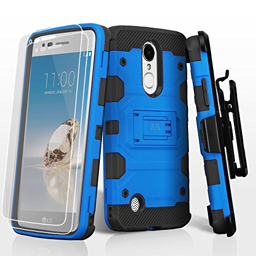 L (TracFone / StraightTalk) Case, Kaleidio [Tank Armor] Rugged Hybrid Dual Layer [Shockproof] Impact Cover Holster Combo Kickstand w/ Screen Protector & Prying Tool] [Blue/Black] ()