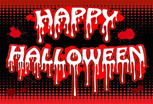 AOFOTO 9x6ft Happy Halloween Night Backdrop Spooky All Hallows Day Bloody Handwriting Dripping with Blood Kids Children Trick or Treat Photography Background Cloth Photo Studio -