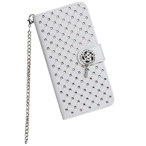 Moonmini® Luxury Bling strasssteine Folding Stand Flip Case Cover Skin Protector Card Holders mit Lanyard Chain Für iPhone 6 4.7 inch Weiß
