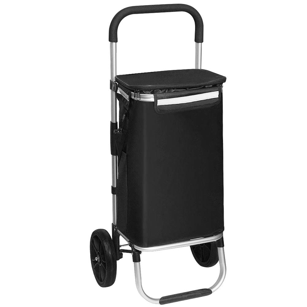 FORUP Shopping Tote Cart, Shopping Trolley, Foldable Grocery Cart, Folding Laundry, Pull Cart with Wheels, Fabric Bag, Aluminum Frame