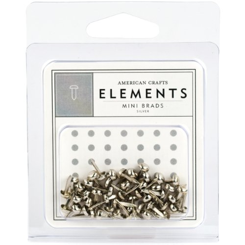 - American Crafts Elements Mini Brads, Silver