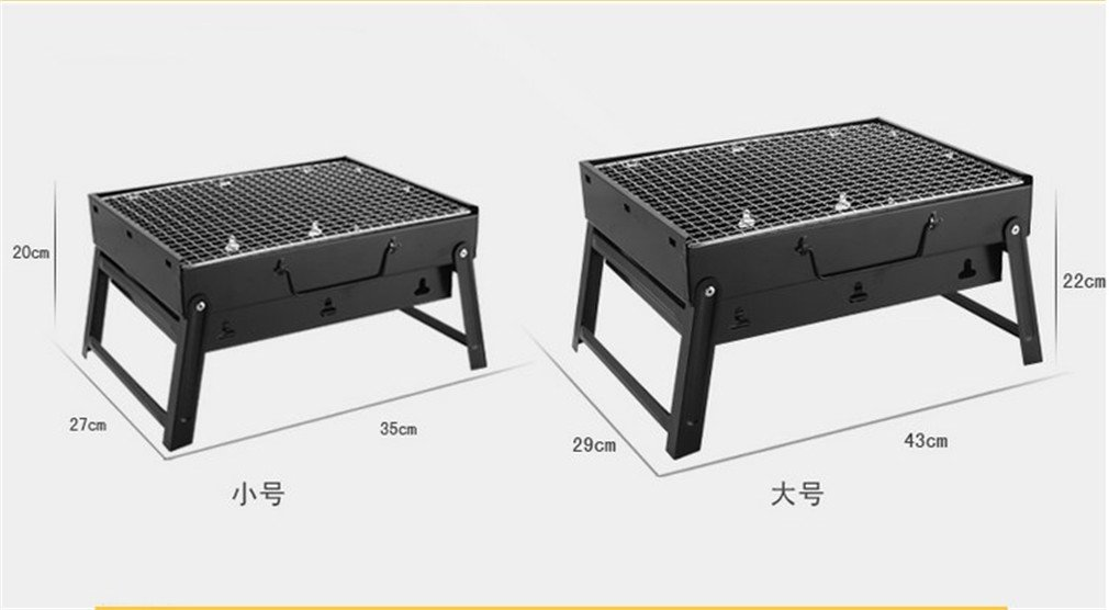 CLODY BBQ Grill Portable Black Steel Stove Charcoal Barbecue Table Camping Outdoor Garden BBQ Utensil,XS