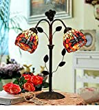 Makenier Vintage Decorative Tiffany Style Stained Glass 2-Light Red Dragonfly Wrought Iron Table Lamp - 5.5 Inches Shade