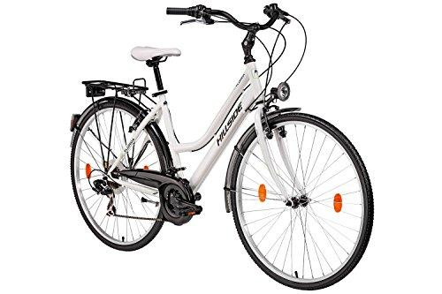 Damenfahrrad 28 Zoll Hillside Florida in weiß Stadtrad City Bike Citybike 21 Gang Shimano Tourney Schaltung Beleuchtung Gepäckträger Seitenständer Trekkingrad