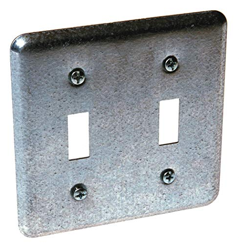 RACO Galvanized Steel Electrical Box Cover, Box Type: Square, Number of Gangs: 2, 4