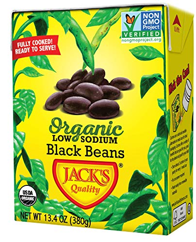 Jack's Organic Black Beans - Packed with Protein & Fiber, Heart Healthy, Low Sodium, Non GMO, BPA Free, Ready-to-eat, 100% Sustainable Packaging with Easy Open Tearstrip, [8 Pack of 13.4oz cartons] (Best Canned Beans To Eat)