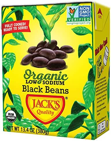 Jack's Organic Black Beans – Packed with Protein & Fiber, Heart Healthy, Low Sodium, Non GMO, BPA Free, Ready-to-eat, 100% Sustainable Packaging with Easy Open Tearstrip, [8 Pack of 13.4oz cartons]