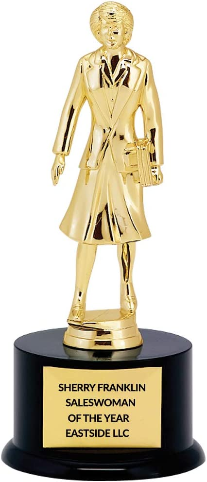 Customizable Saleswoman Trophy, Dundie Award, Customized Engraving Plate Included, 11 Inches Tall