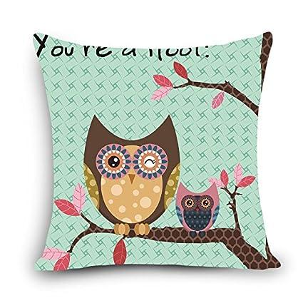 Amazon.com: MAYUAN520 Cushion、Decorative Pillows Lovely Owl ...