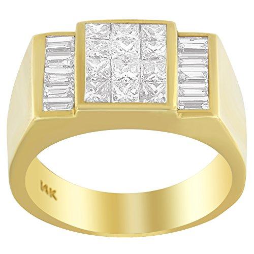 14K Yellow Gold Princess and Baguette Cut Diamond Men's Ring (2.25 cttw, G-H Color, VS1-VS2 Clarity)