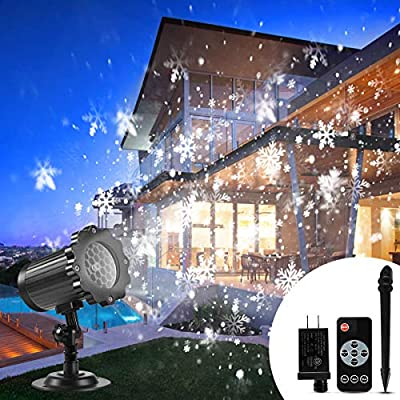 Christmas Projector Lights Outdoor, B-right LED Snowfall Waterproof Projection Lights Christmas Snow Light with Remote Sparkling Landscape Decorative Lighting Xmas Halloween Holiday Thanksgiving Party