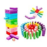 O-Toys Stacking Game Wooden Toys for Kids Board Games Building Blocks Dominoes Tower Play Set for Boys Girls Rainbow Color 48 Pieces